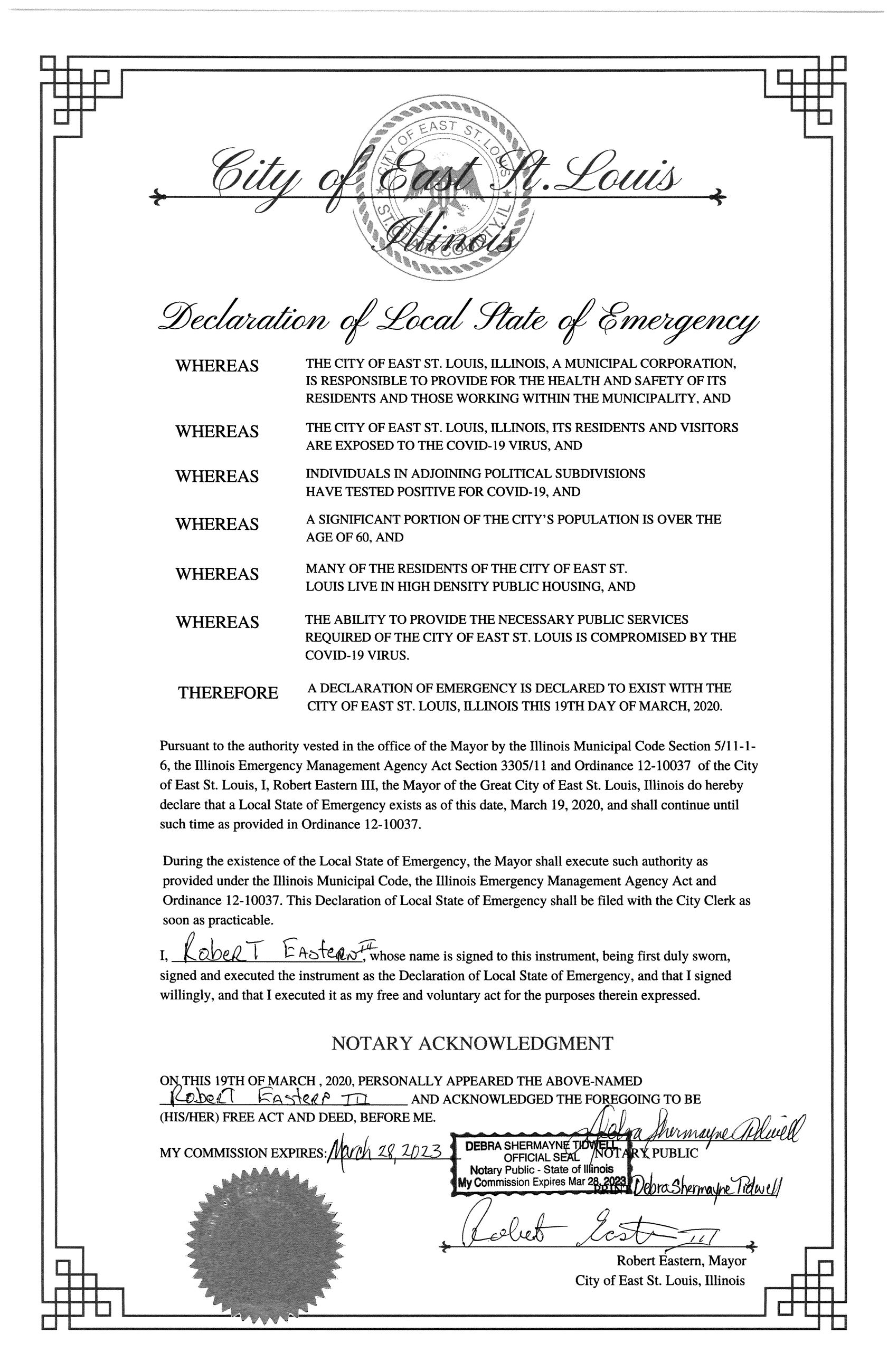 EAST ST. LOUIS DECLARATION OF LOCAL STATE OF EMERGENCY