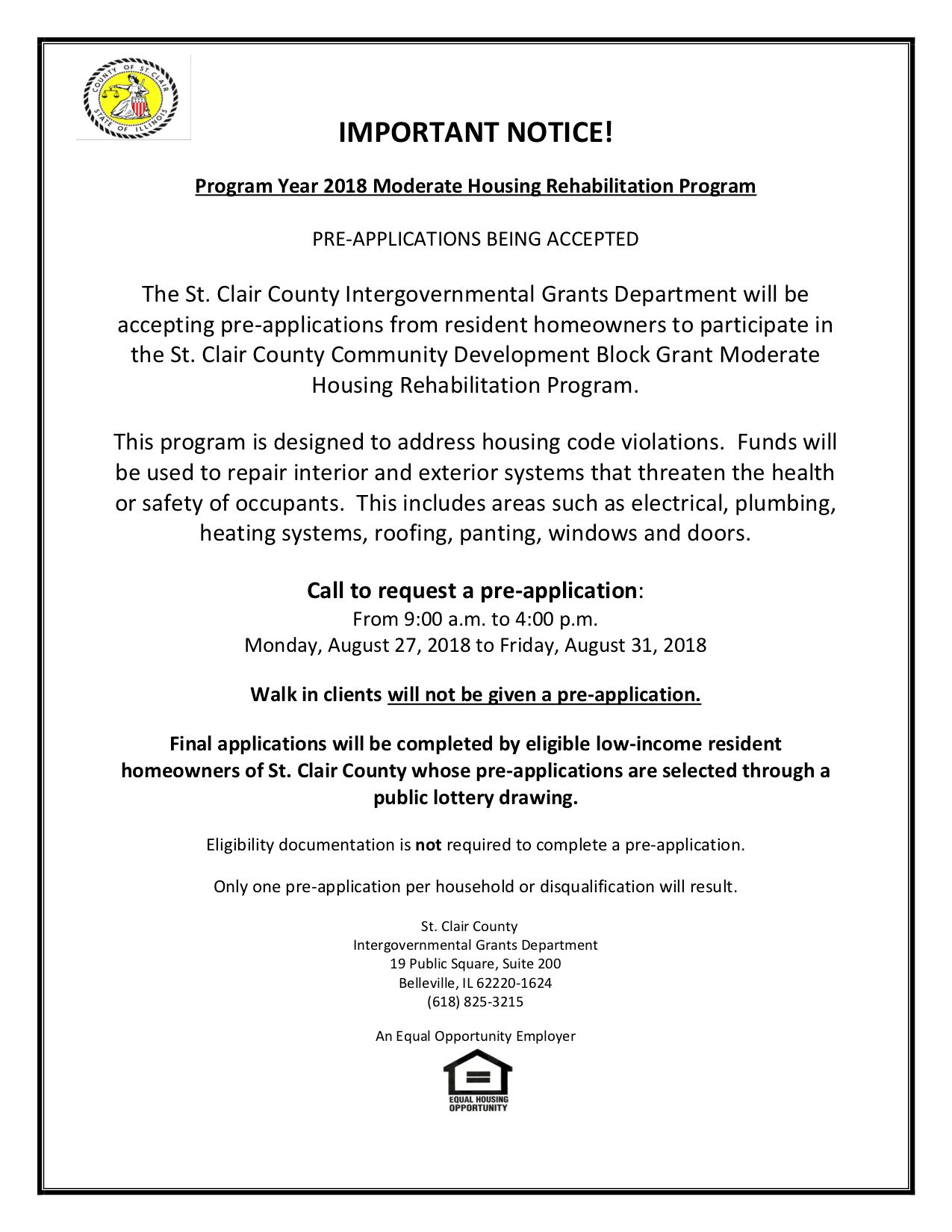 2018 Rehab pre-application flyer