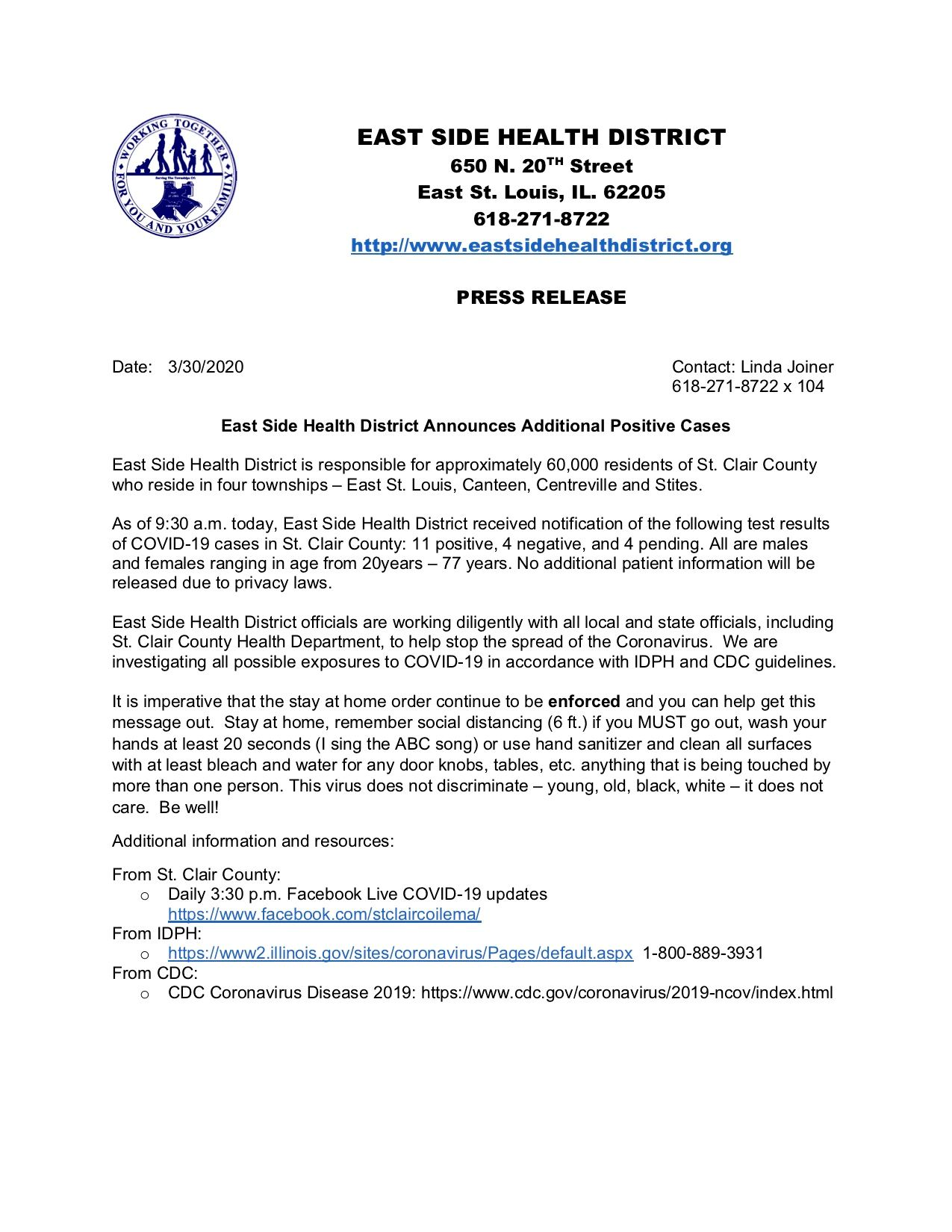 East Side  Health District Press Release 03-30-20